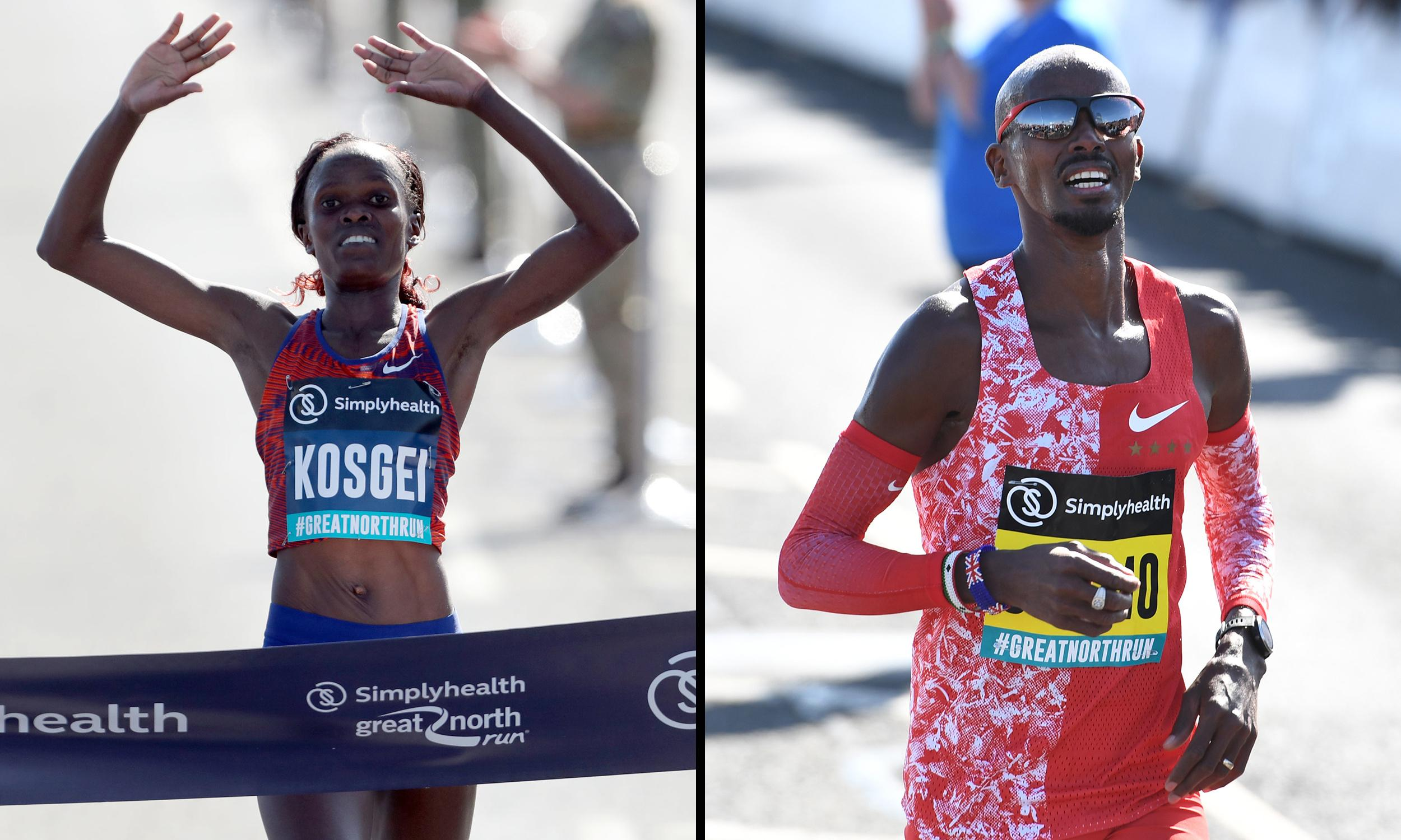 Kosgei breaks half marathon record at Great North Run as Farah wins sixth title