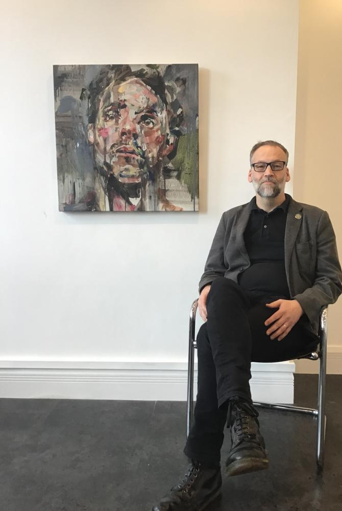 Ian Hay from the Saul Hay gallery in Manchester with The Paradox, by Andrew Salgado