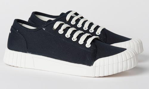 Organic navy canvas 'Bagger' shoes, £50.