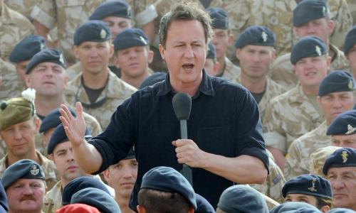 File photo dated 11/06/10 of Prime Minister David Cameron addressing British soldiers at Camp Bastion in Helmand Province, Afghanistan.
