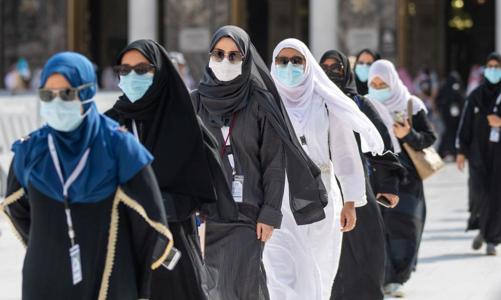 Mask-clad pilgrims began the annual hajj, dramatically downsized this year as the Saudi hosts strive to prevent a coronavirus outbreak during the five-day pilgrimage.