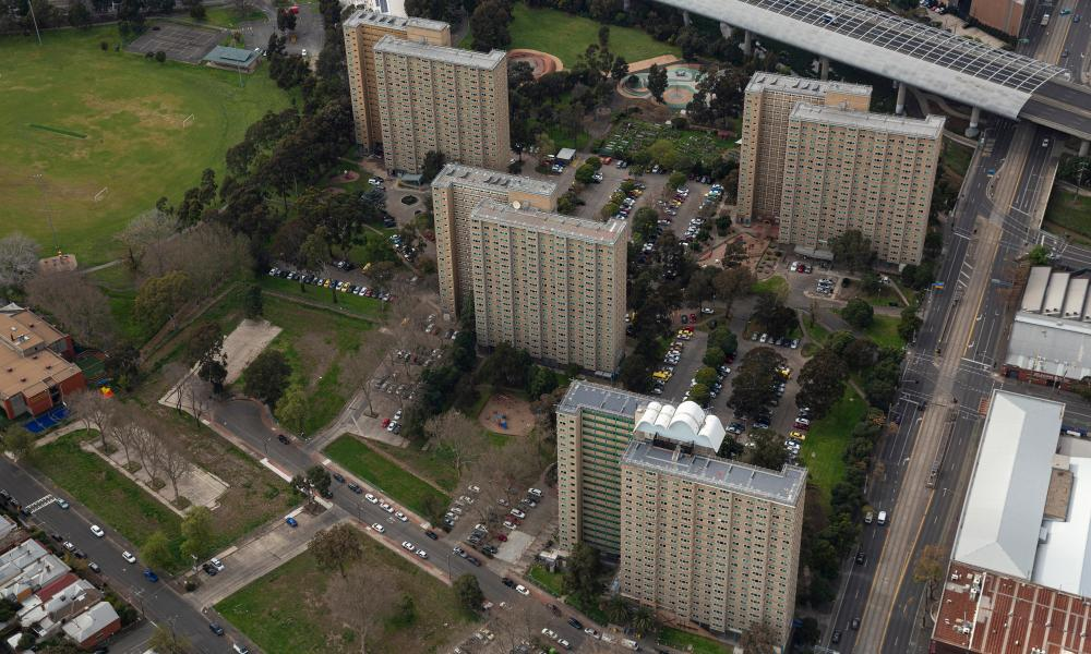 An aerial view of the public housing towers on Racecourse Road, North Melbourne.