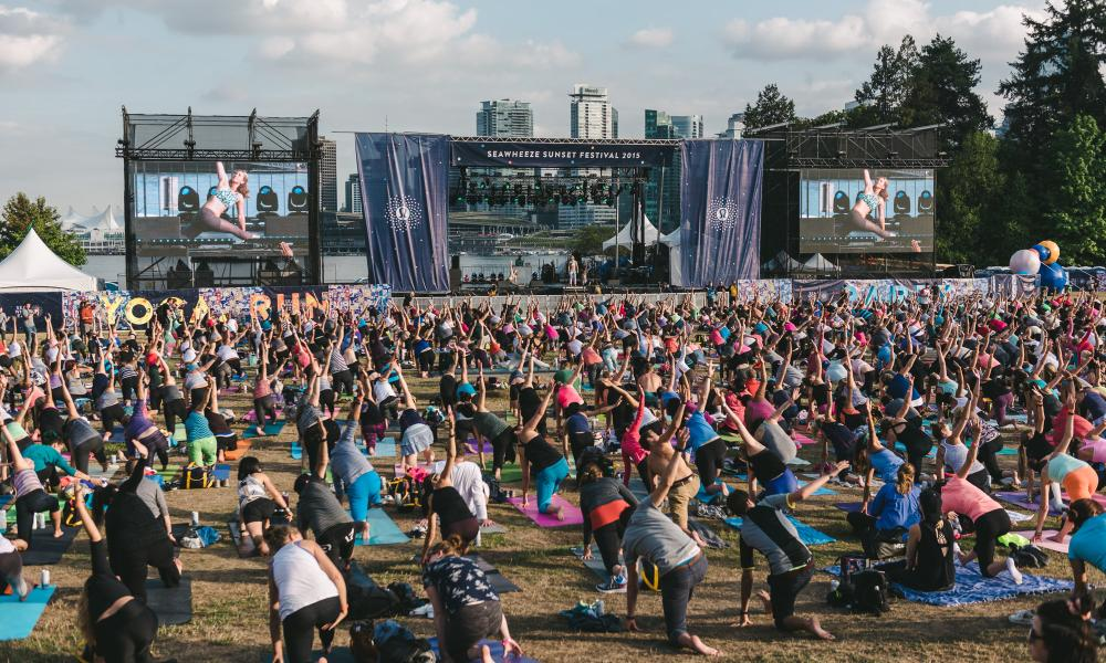 A spot of post-half marathon yoga, anyone? The post-Seawheeze sunset festival