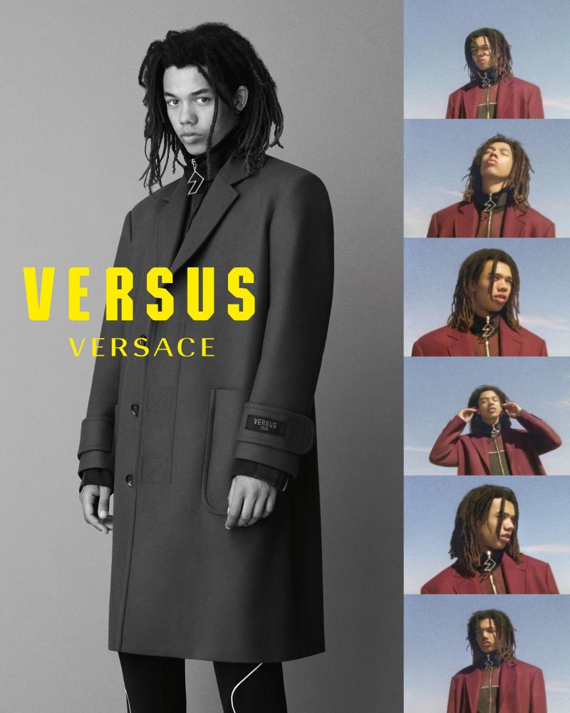 Teenage London singer Cosmo Pyke models Versace Versus.