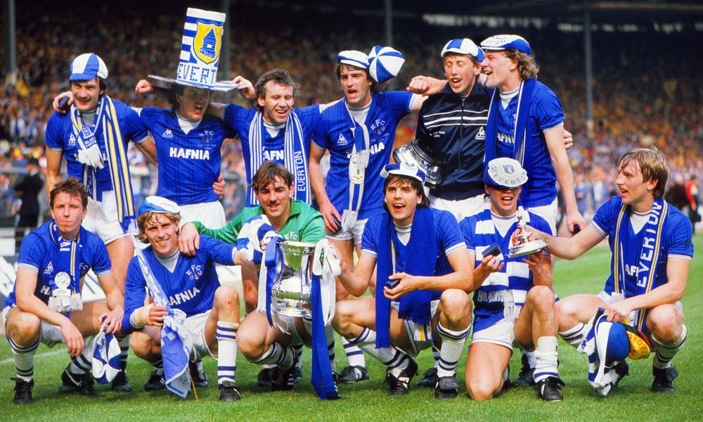 Peter Reid, third left in the back row, celebrates the 1984 FA Cup final victory with his Everton teammates.