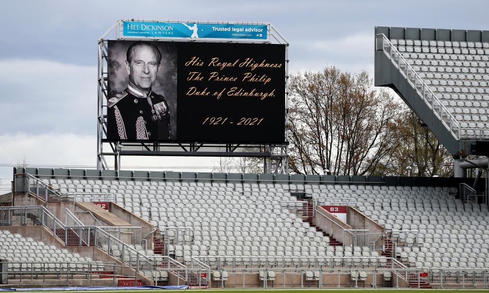 The big screen inside the Emirates Old Trafford displays a message in tribute to Prince Philip as players, staff and officials take part in a two-minute silence.