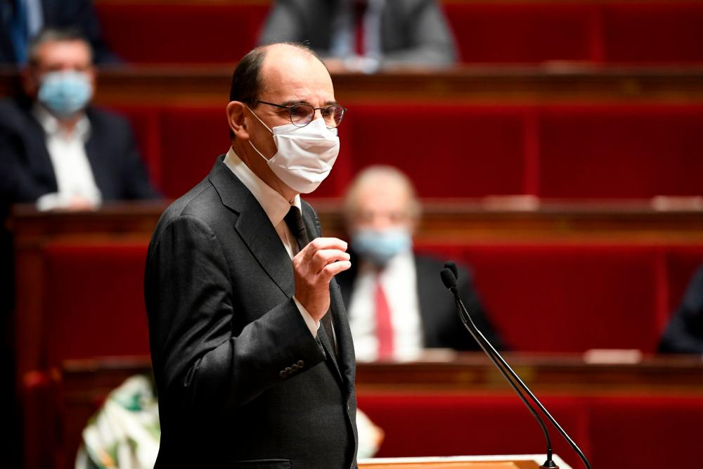 The French prime minister, Jean Castex, speaks at the national assembly at the Palais Bourbon in Paris.