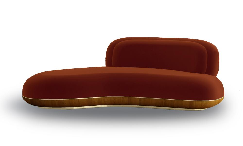 Ini Archibong Curve sofa in orange.