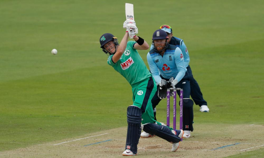 Harry Tector of Ireland tries to hit out against Adil Rashid but is caiught by Saqid Mahmood .