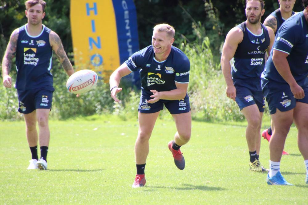 Leeds Rhinos' Brad Dwyer in training for the restart.