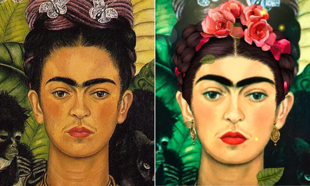 A photo of Frida Kahlo that Snapchat created for International Women's Day in 2017, which was criticised for lightening her skin and making her features appear more symmetrical.