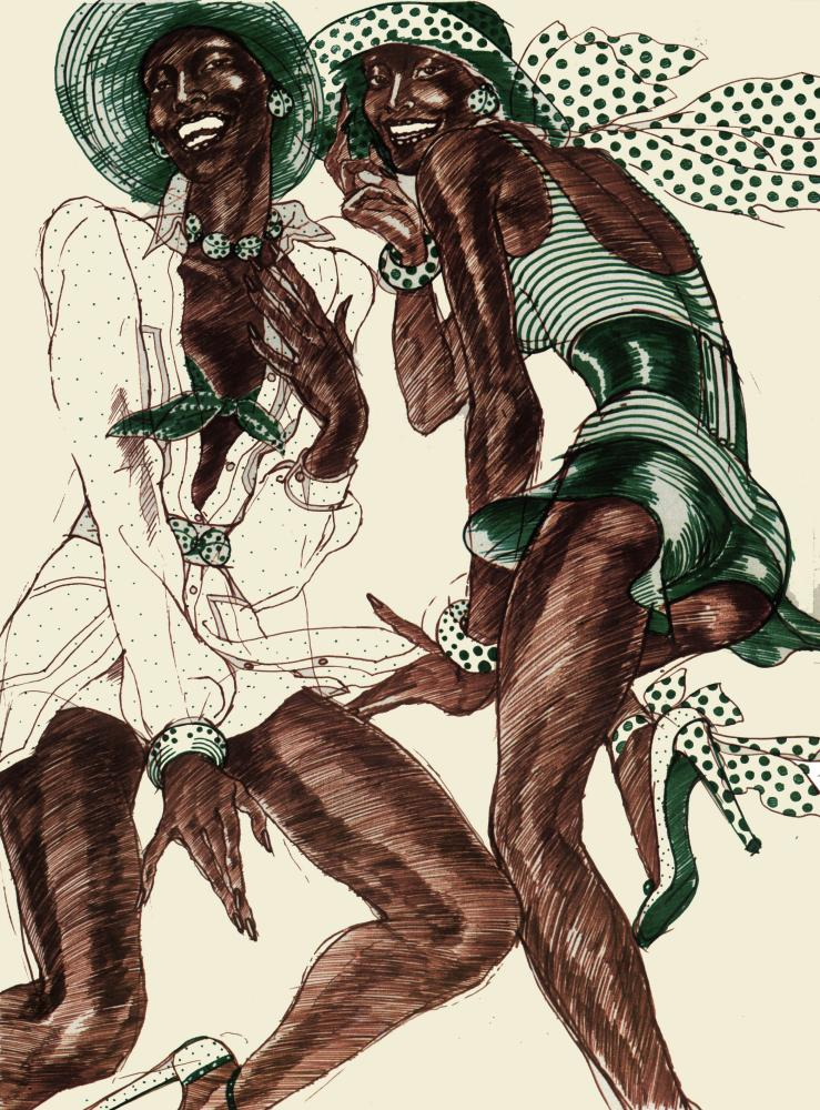 Carol LaBrie in one of Lopez's illustrations, Italian Vogue, 1971. LaBrie was the first black model on the cover.