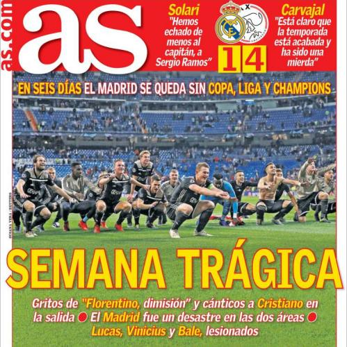 AS lamented Real Madrid's 'tragic week' that saw them exit the Copa del Rey, effectively end their league challenge and now depart the Champions League.