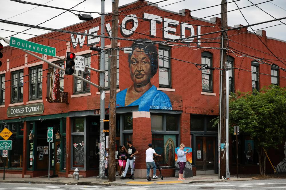 A mural featuring the face of Stacey Abrams in Atlanta, Georgia.