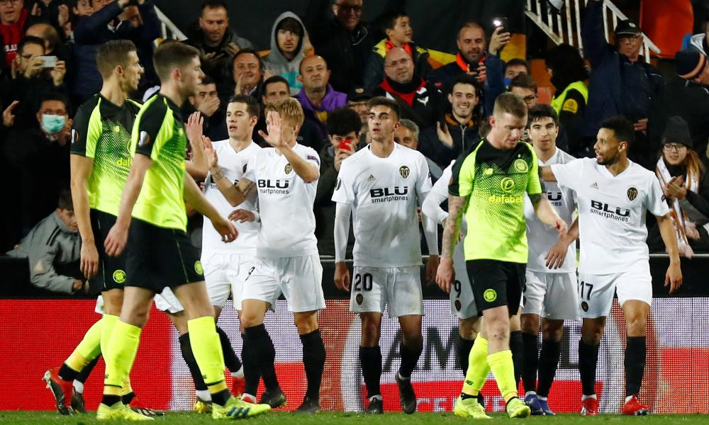 Joy for Kevin Gameiro and his Valencia teammates amongst the glum Celtic players.