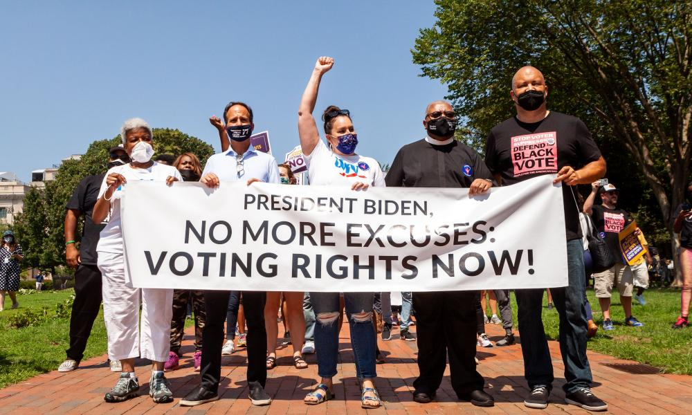 A voting rights rally at the White House last month.