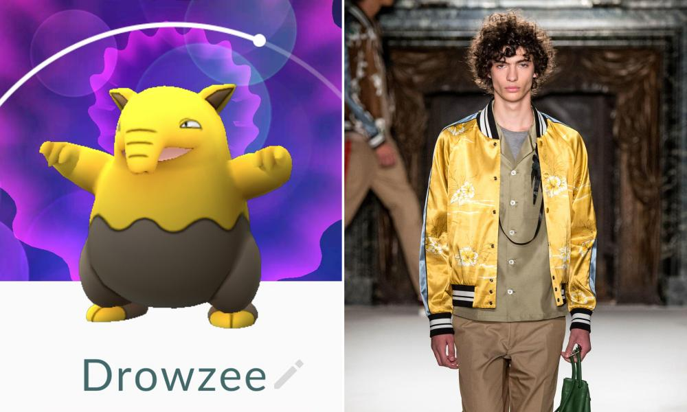 Drowzee: The most cerebral of the lot, the Drowzee has psychic abilities, tries to eat your dreams and looks like a tapir. The colours – mustard and mushroom – make as little sense, except when compared to Valentino SS16, and only because it's broken up with a mid-colour shirt. Something to think about, you weird.