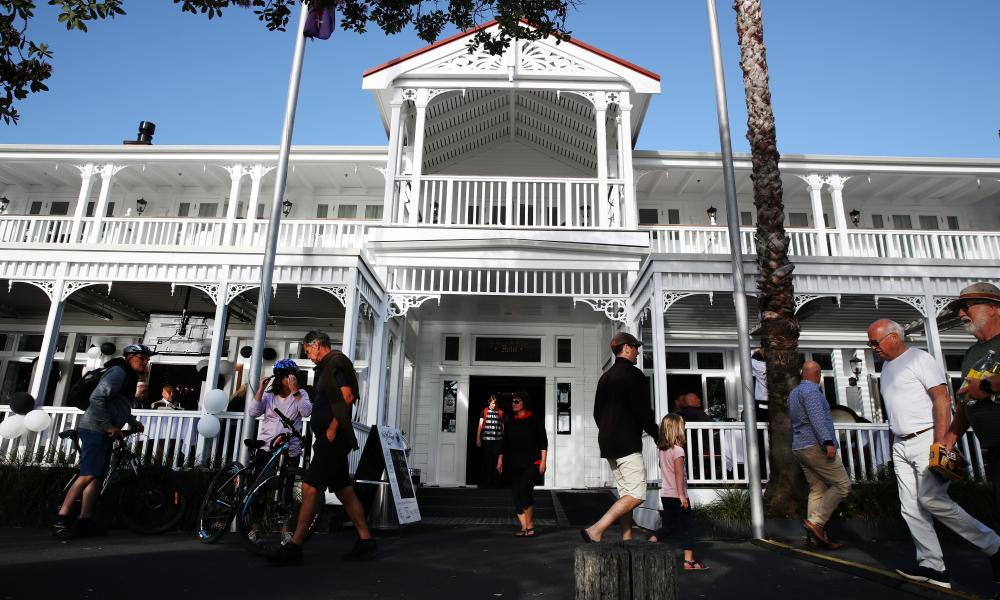 Guests enjoy the late evening sun at the Duke of Marlborough Hotel in Russell where New Zealand First Leader Winston Peters and supporters await election results on 17 October 2020 in Auckland, New Zealand.