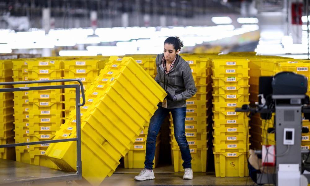 A woman at work in the 855,000-square-foot Amazon fulfilment centre in Staten Island, New York.
