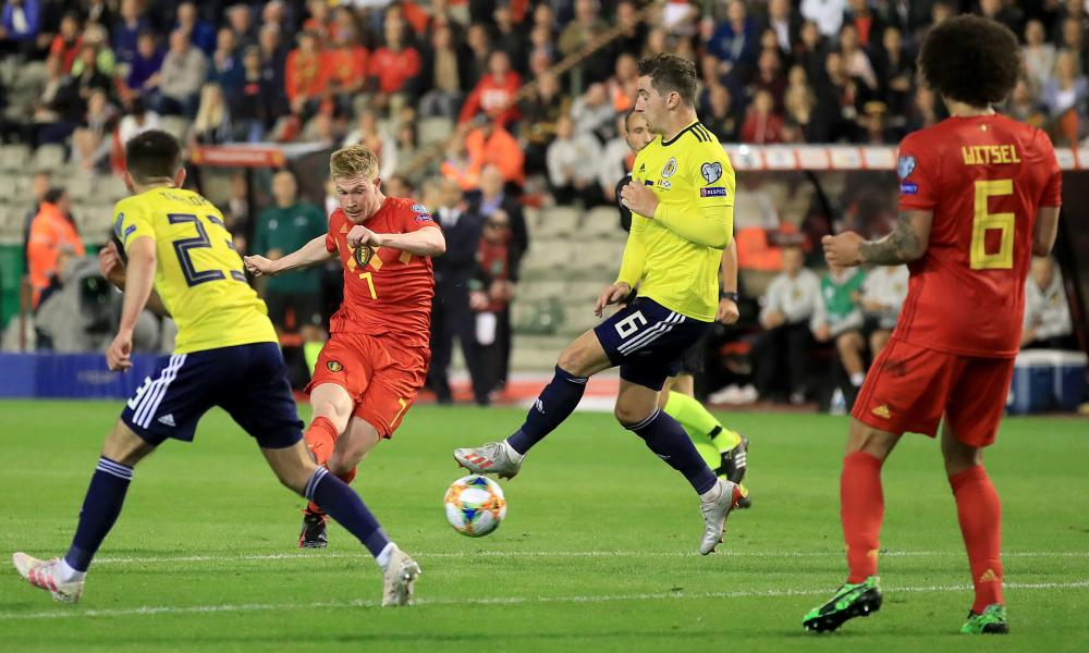Scotland, unable here to prevent Kevin De Bruyne from scoring in a 3-0 defeat in Belgium, must hope to reach the Euros via the back door.