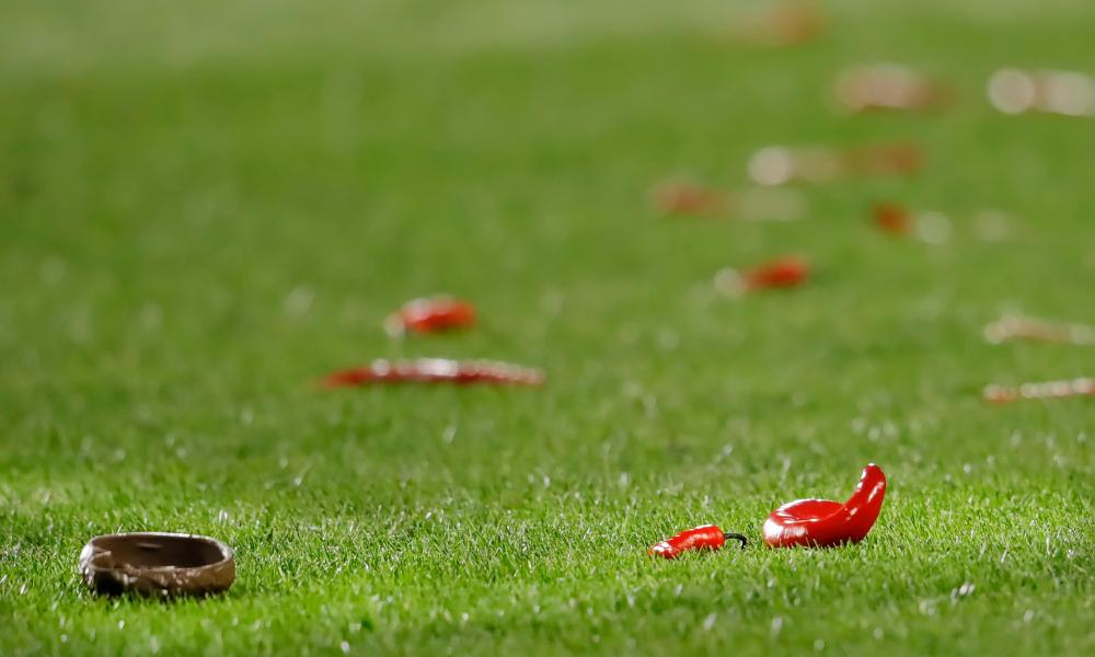 During FC Twente's match against Willem II in March, supporters peppered the pitch with red chillis. We don't know why. Readers?