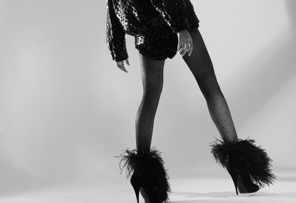 Tights, £150, shorts, jacket and boots, price on application, by Saint Laurent by Anthony Vaccarello. Styling:Melanie Wilkinson. Model: Cha Mi at Wild.