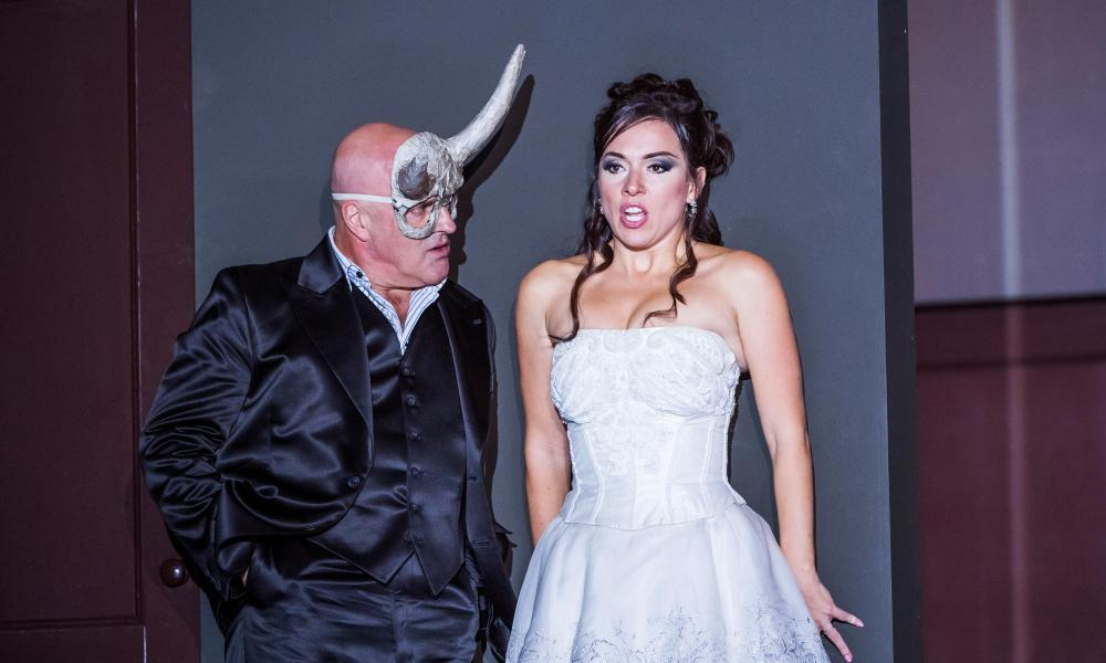 Unjust privilege leading to defiance and total ruin... Christopher Purves as Don Giovanni with Mary Bevan as Zerlina in English National Opera's 2016 production by Richard Jones.