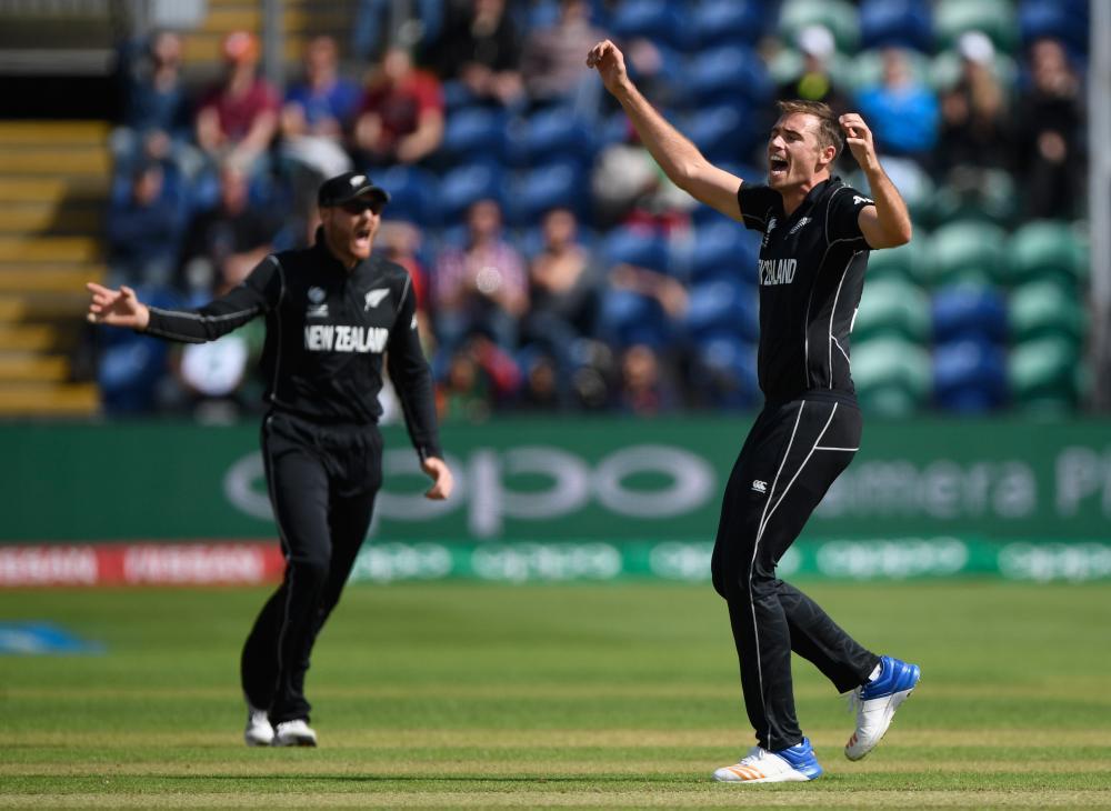 New Zealand bowler Tim Southee celebrates dismissing Bangladesh batsman Soumya Sarkar.