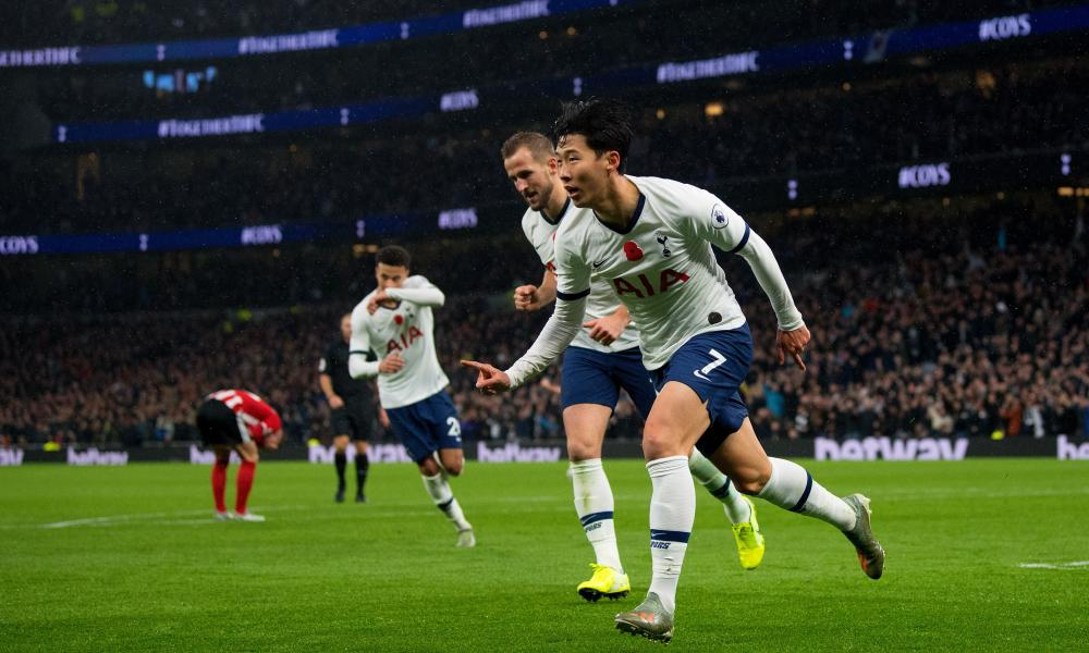 Son Heung-Min wheels away to celebrate his opening goal against Sheffield United.