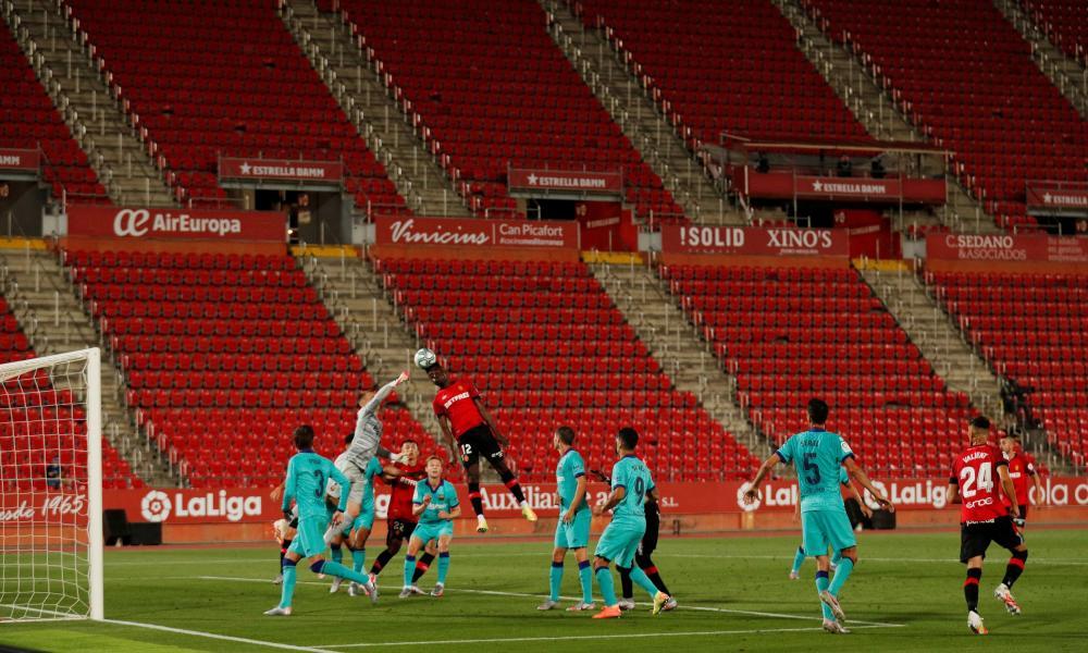 RCD Mallorca plays FC Barcelona at the Iberostar Stadium, in Palma, Spain, on 13 June, 2020, as Spain's top football division La Liga resumes games behind closed doors.