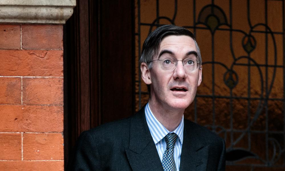 Jacob Rees-Mogg leaving his home in Westminster this morning.