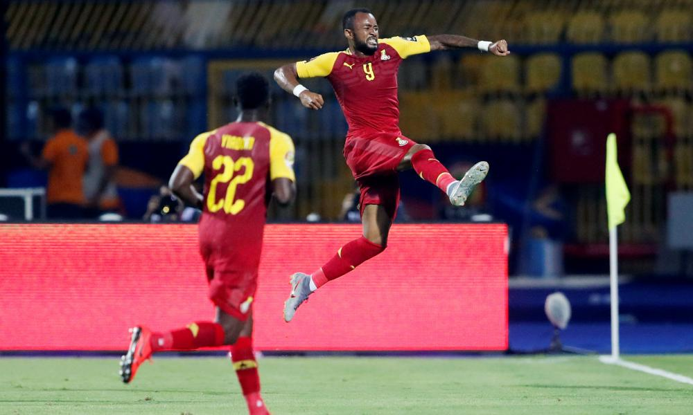 Ghana's Jordan Ayew celebrates scoring their second goal.