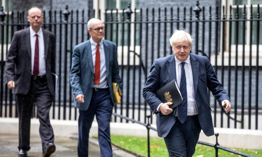 Chris Whitty, Patrick Vallance and Boris Johnson ahead of a press conference in Downing Street on September 14, 2021