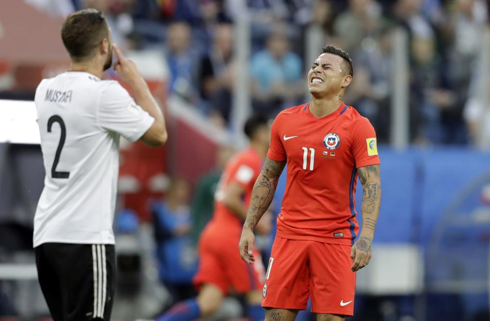 Chile's Eduardo Vargas reacts after a missed chance.