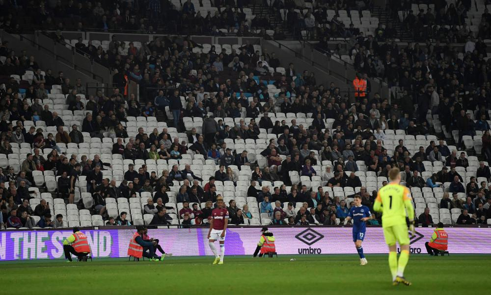 General view of empty seats during the match.
