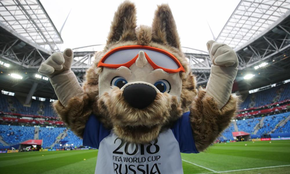 Zabivaka the Wolf, the 2018 World Cup mascot, has brought his sunglasses.