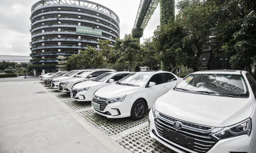 Vehicles being charged at China's leading maker of electric cars, BYD Co, in Shenzhen, China.