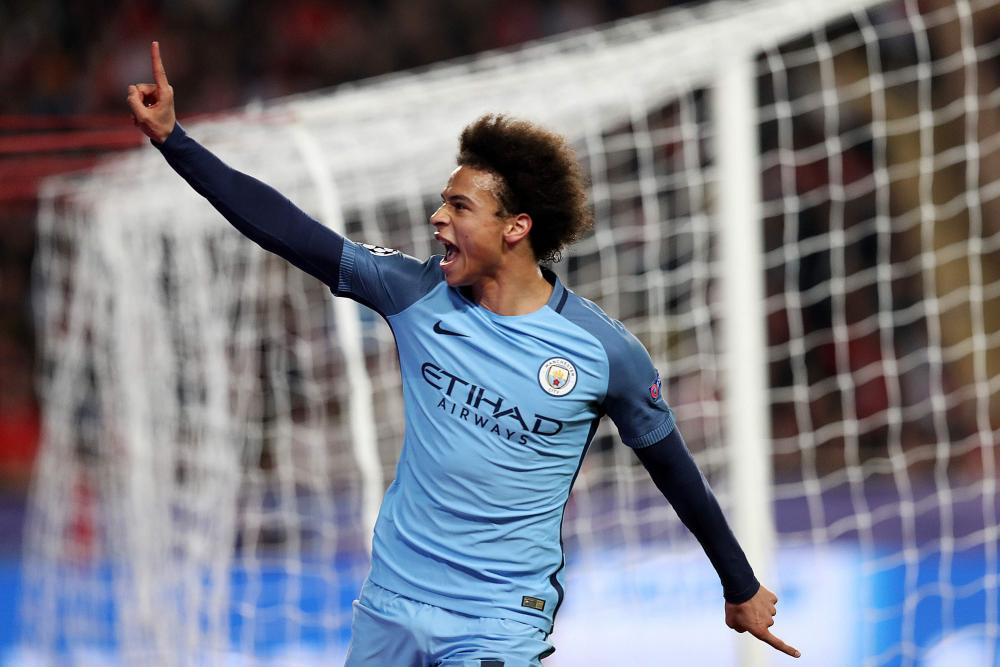 Manchester City's Leroy Sane celebrates after scoring.