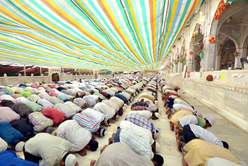 Muslims offer prayers on the last Friday of the holy month of Ramadan in Dargah Khwaja Moinuddin Chisti in India.