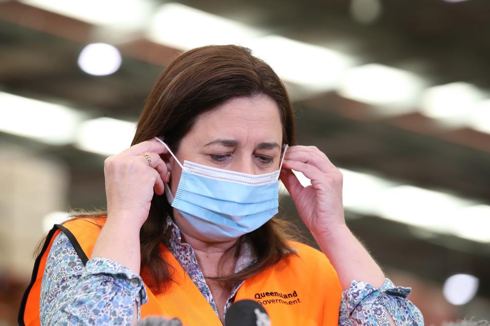 Queensland premier Annastacia Palaszczuk speaks to the media in Brisbane on Thursday.