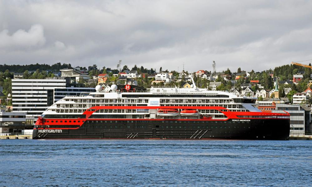 The MS Roald Amundsen ship, operated by Norway's Hurtigruten line, is seen after 33 crew members tested positive for coronavirus, at a port in Tromso, Norway on 1 August, 2020.