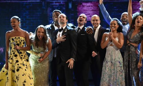 The cast of Hamilton performs during the 70th Annual Tony Awards at The Beacon Theatre on Broadway
