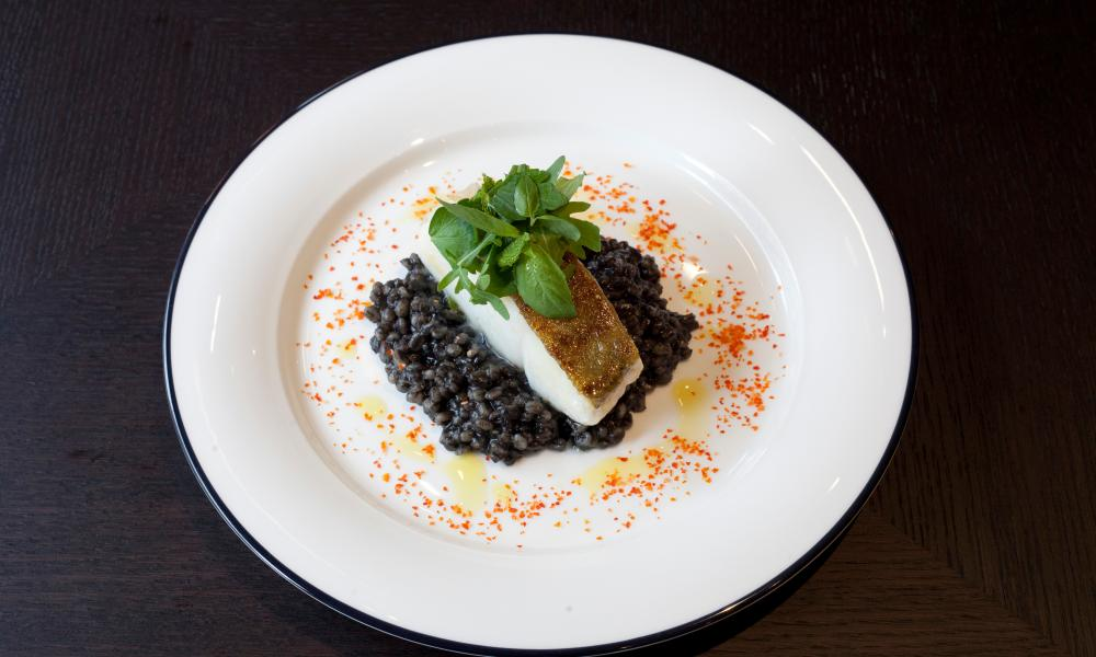 Cod on risotto