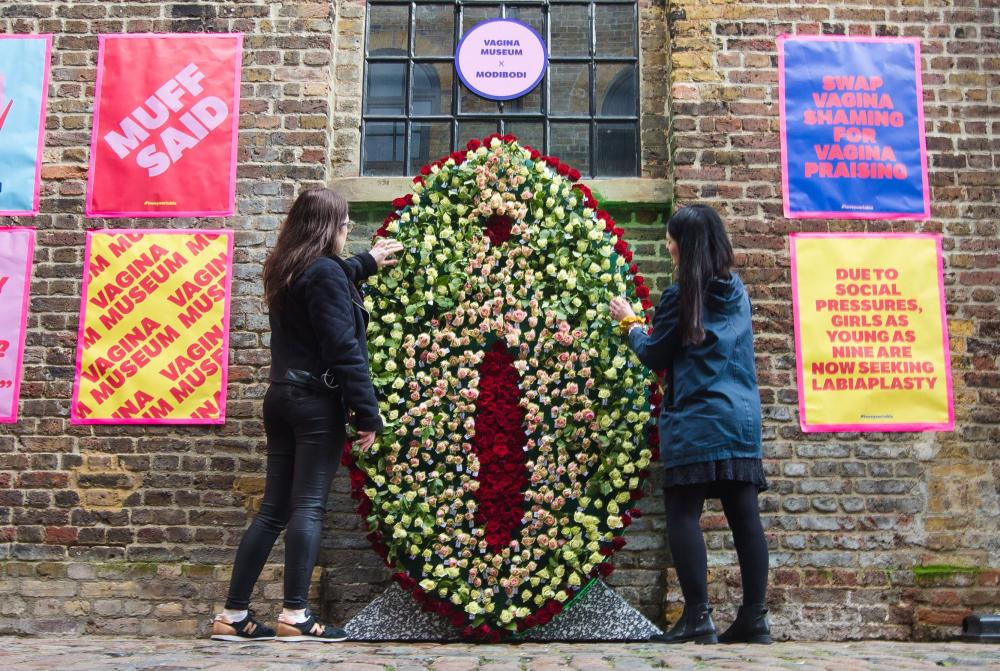 A floral vulva installation at the Vagina Museum in Camden, north London, in February