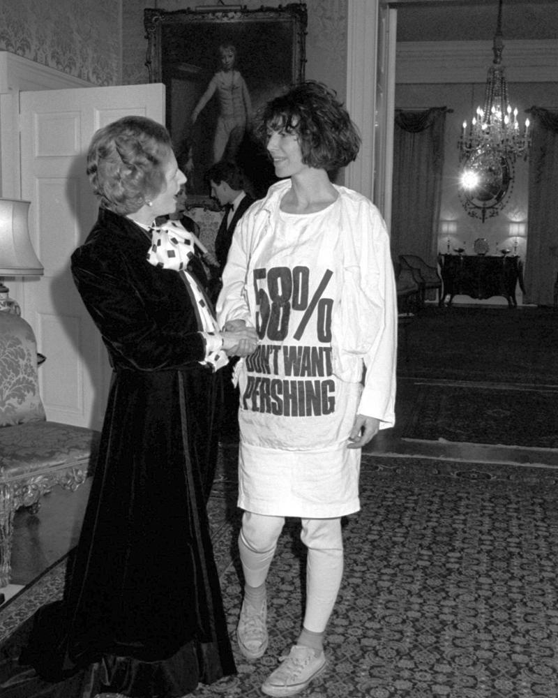Katharine Hamnett, wearing a T-shirt highlighting public opposition to 'Pershing' nuclear missiles, meets then prime minister Margaret Thatcher.