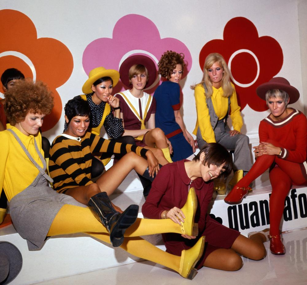 Mary Quant ( centre foreground) launches her footwear collection launch, 1967