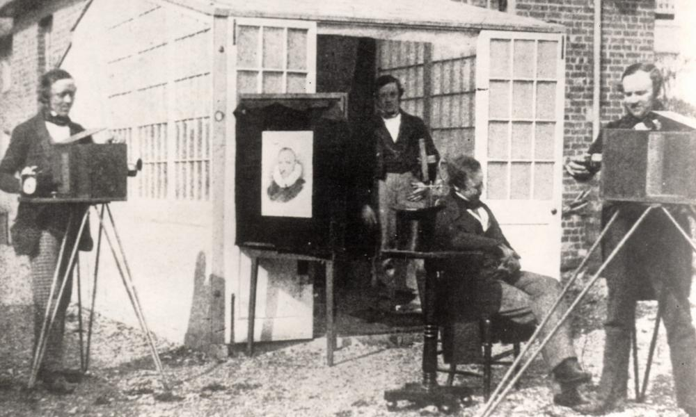 William Henry Fox Talbot, right, outside his photographic studio circa 1848.