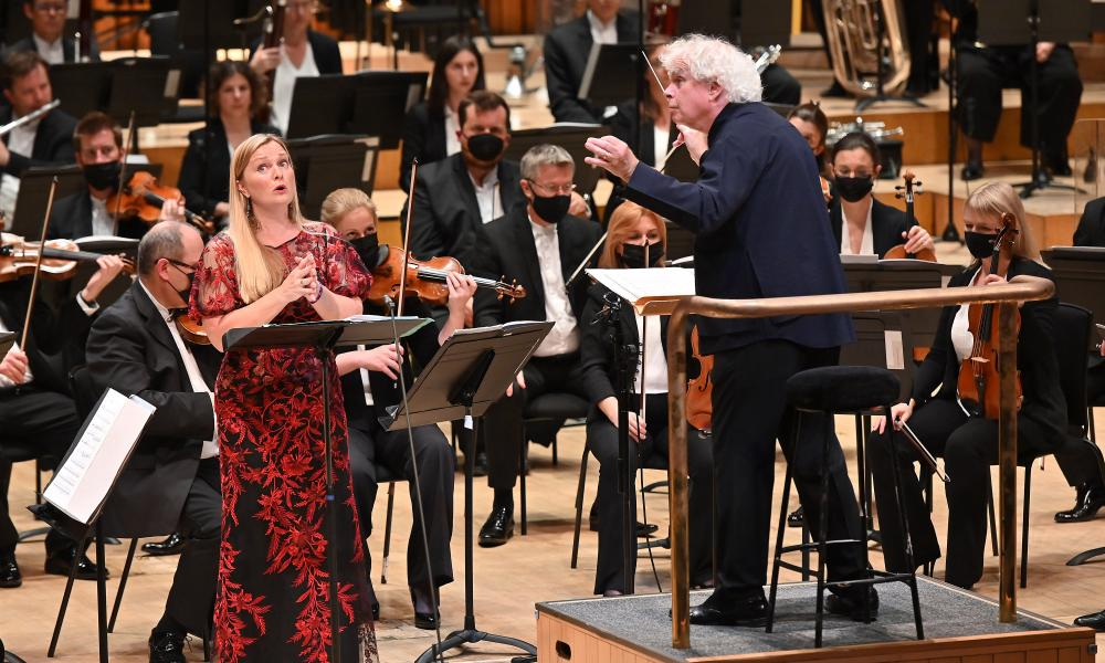 Lucy Crowe and Sir Simon Rattle with the London Symphony Orchestra.
