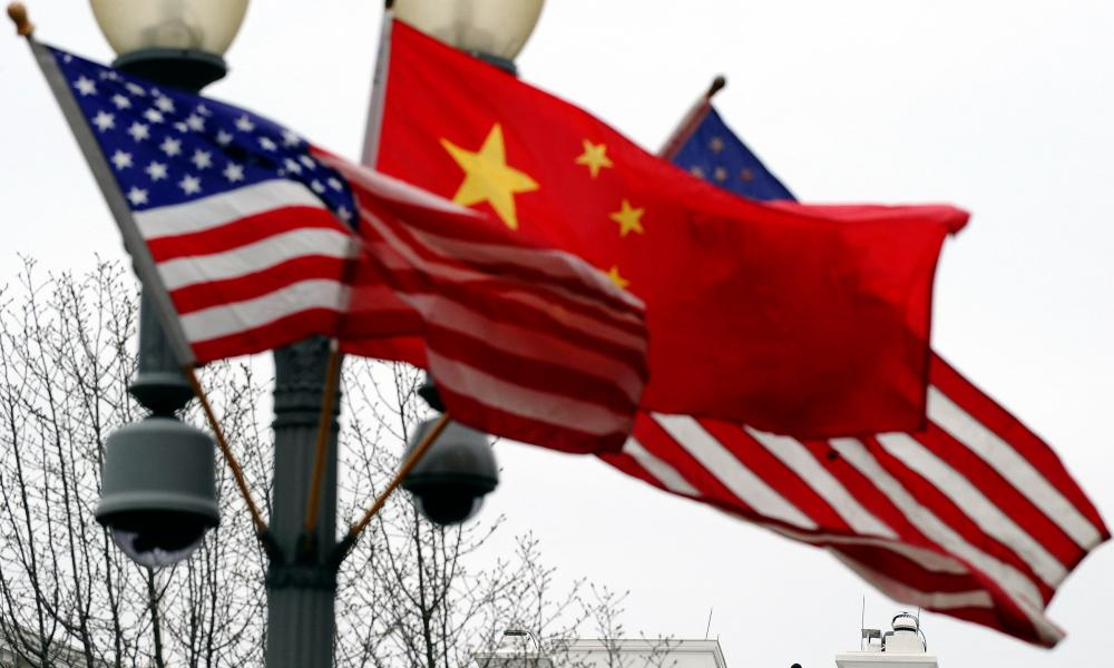 US and China flags are seen