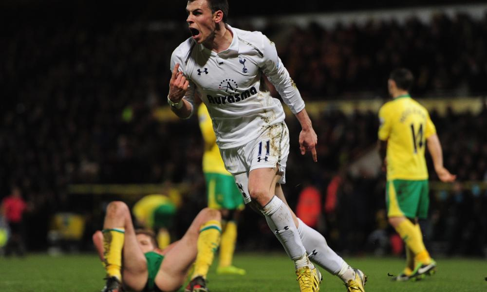 Gareth Bale celebrates scoring for Spurs against Norwich in 2013